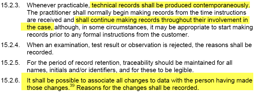FSR - Technical records shall be produced contemporaneously