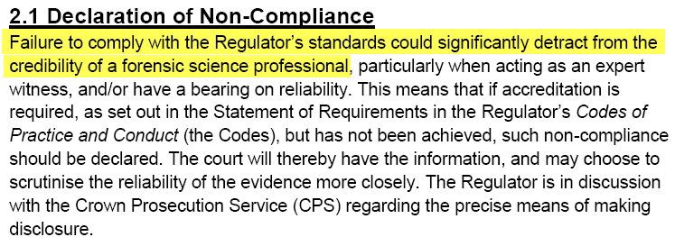 Forensic Science Regulator - Declaration of Non-Compliance