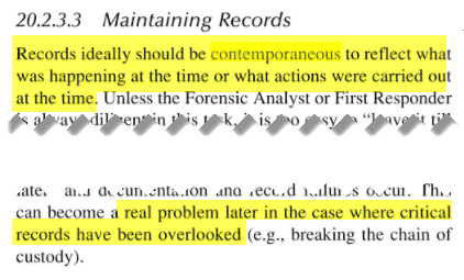 Maintaining Records - should be contemporaneous to reflect what was happening